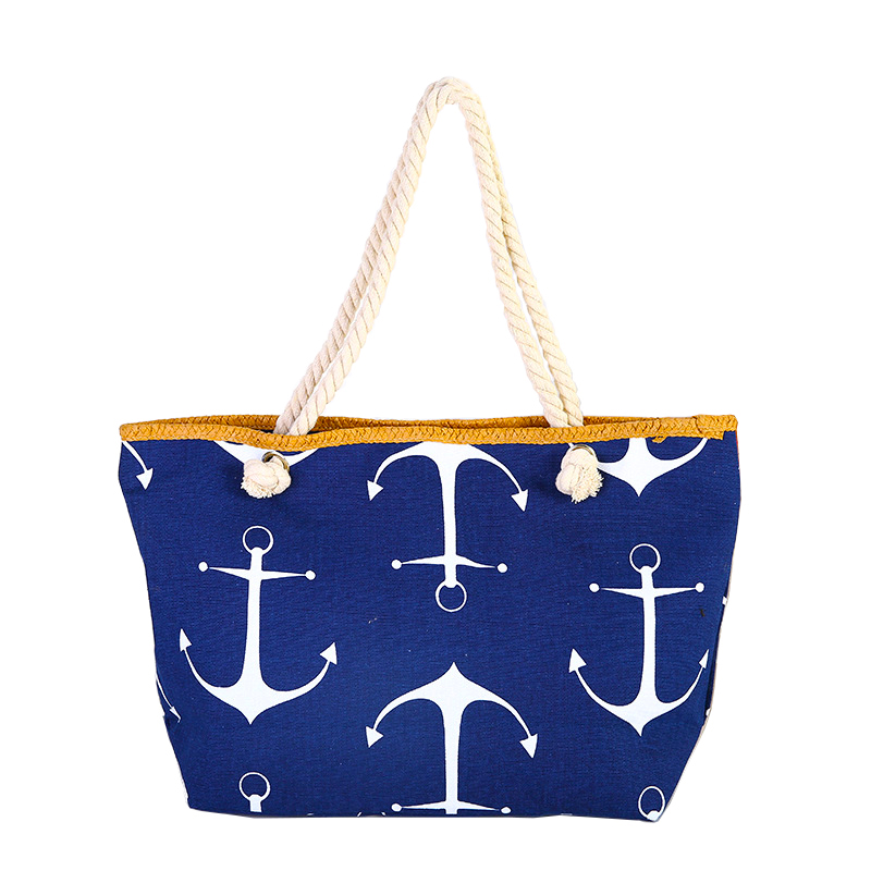 BONAMIE Women Large Capacity Tote Beach Bag Hemp Rope Straw Weave Printed Anchor Canvas Shoulder Bag Summer Big Shopping Bag