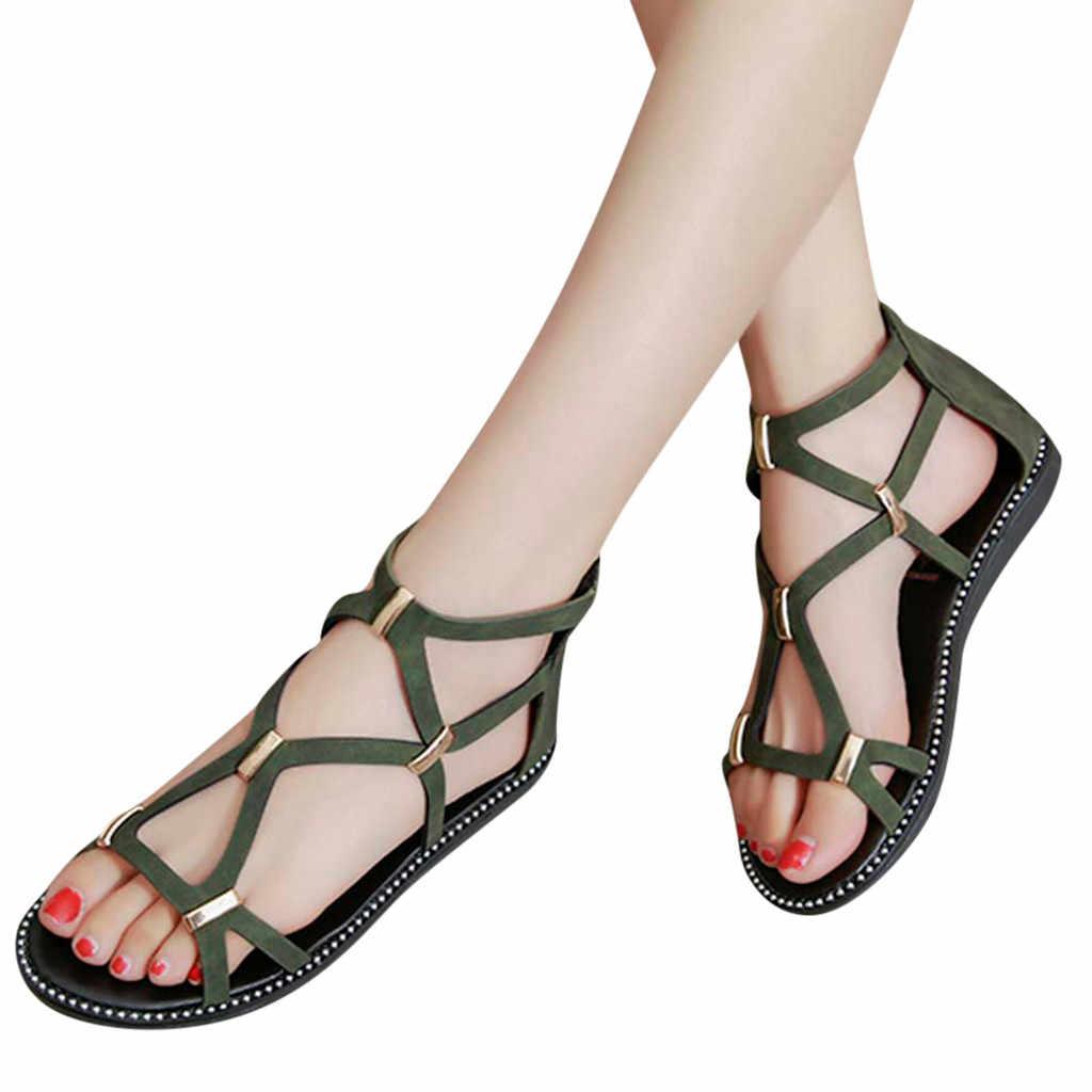 petrolero fútbol americano Marinero  Sandalias tipo gladiador de moda para mujer, zapatos planos femeninos de  estilo romano, con cremallera calada, para verano|Sandalias de mujer| -  AliExpress