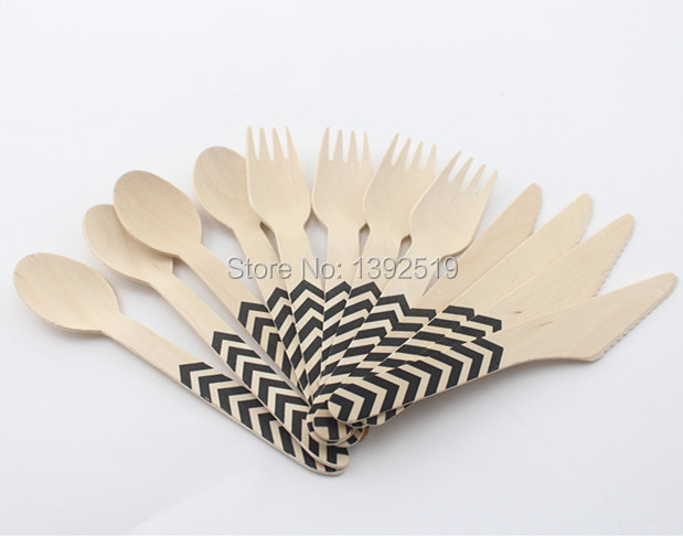 Promotional 1440pcs printed wooden cutlery set wholesale for Cheap wedding favors bulk
