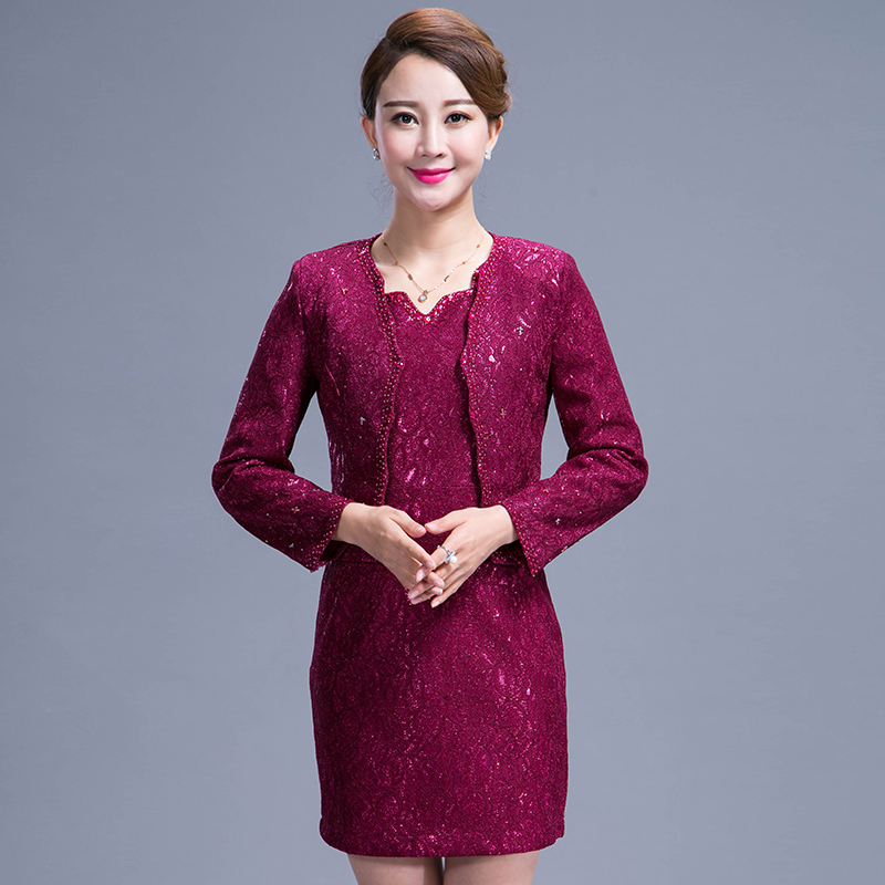 2016 New Good Quality Elegant Temperament Women Dress Suits Plus Size For Mother Beatiful Lace Suits