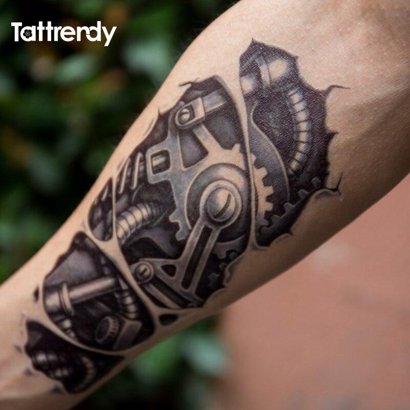 Temporary tattoos 3D black Robot mechanical arm fake transfer tattoo stickers hot sexy cool men spray waterproof designs C058 2