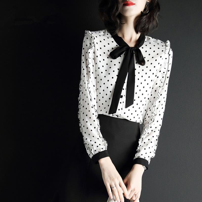 KMETRAM mode femme Blouses 2019 printemps Vintage en mousseline de soie Blouse femmes chemises coréen à pois haut pour femme Camisas Mujer MY2611