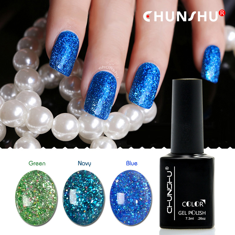 Gelaxy Gel Nail Polish: Blue Nail Gel Beauty Shining Galaxy Glitter Polish Soak