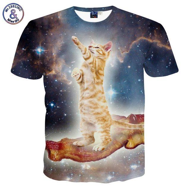 3D cat t-shirt Galaxy traveler