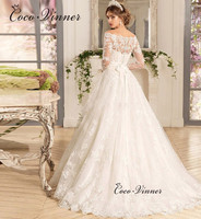 Off shoulder A line Arab Muslim Wedding Dress 2019 Court Train Sashes Long Sleeve Button Back Bride Dress Wedding Gowns W0071