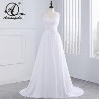 W3341 New Style Beautiful Spaghetti Straps Pleated Beaded A Line Chiffon Formal Long Beach Wedding Dress
