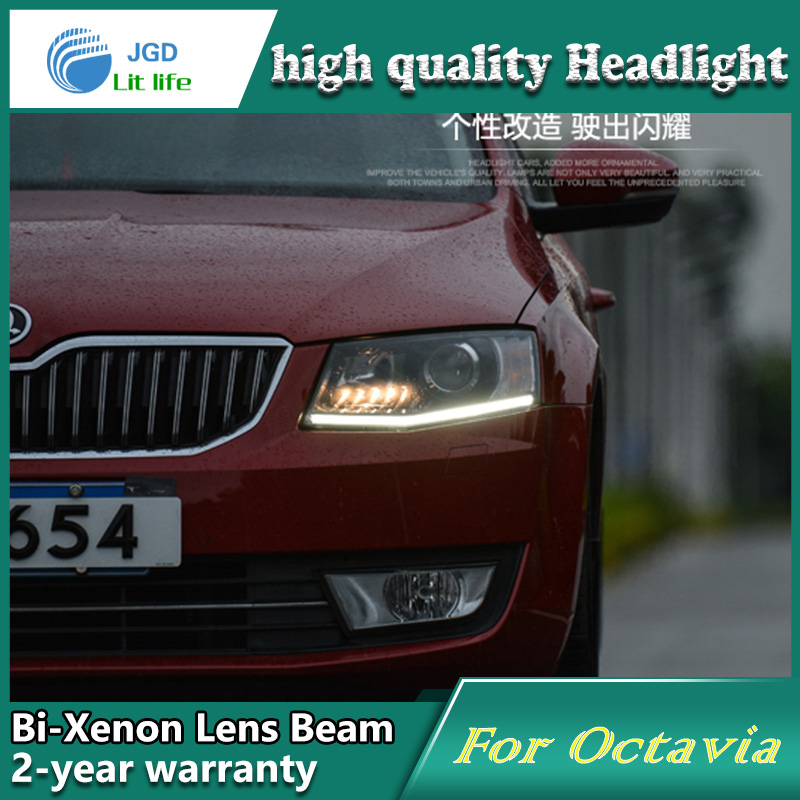 Глава стайлинга автомобилей чехол лампы для Шкода Октавия 2015 фары светодиодные фары DRL объектива с двойным Луч Би-Ксеноновые аксессуары