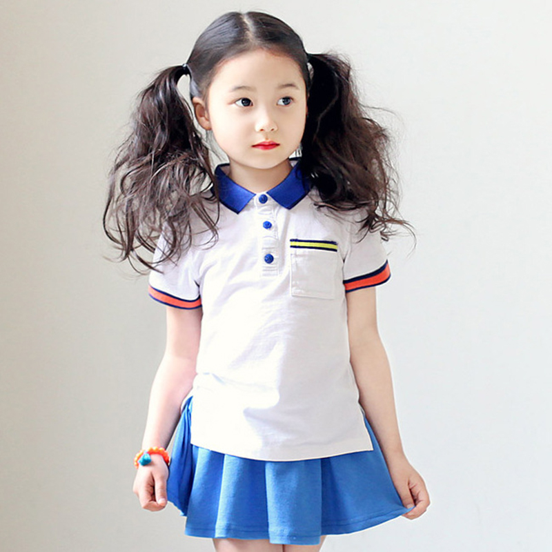 Summer Baby Girls Clothing Sets Navy Style Girls Baseball Dress And T Shirt Suit Sets Girls School Uniform Kids Children Clothes