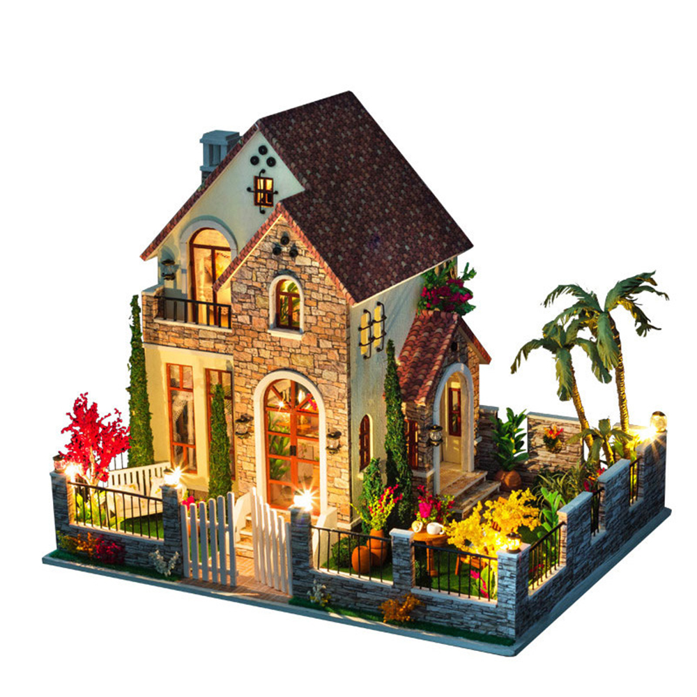 DIY Miniature Room Wooden Doll House Love Apartments with Furniture LED Lights Dollhouse Toys for Children