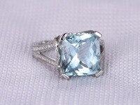 MYRAY 14k White Gold 5 9ct Big Natural Blue Aquamarine Stone Gemstone Diamond Engagement Ring Wedding