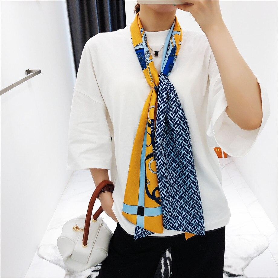 Double-deck Twill Luxury Brand Scarf Women New Design Carriage Print Handkerchief Fashion Neckerchief Silk Scarves For Ladies