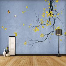Custom large wallpaper hand-painted new Chinese style pen gold ginkgo background wall painting waterproof material