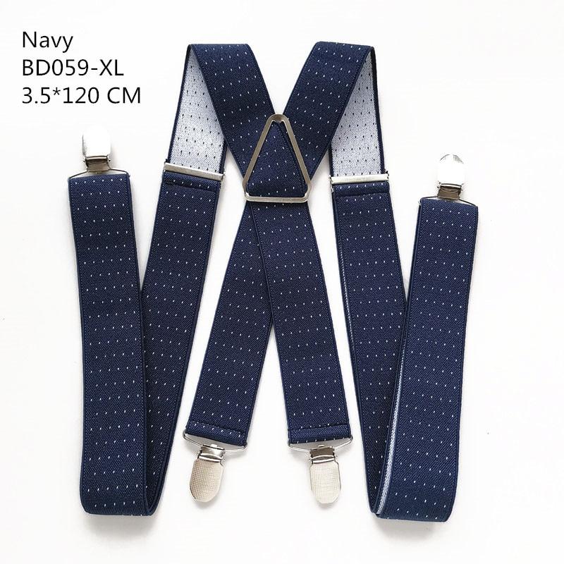 Одноцветные подтяжки унисекс для взрослых, мужские XXL, большие размеры, 3,5 см, ширина, регулируемые эластичные, 4 зажима X сзади, женские брюки, подтяжки, BD054 - Цвет: Dot navy-120cm