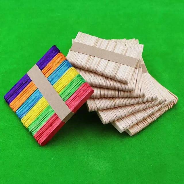 New Fashion Childrens DIY Multicolor Ice Cream Wooden Sticks Creative Handmade Crafts Toys Simple Art Tools