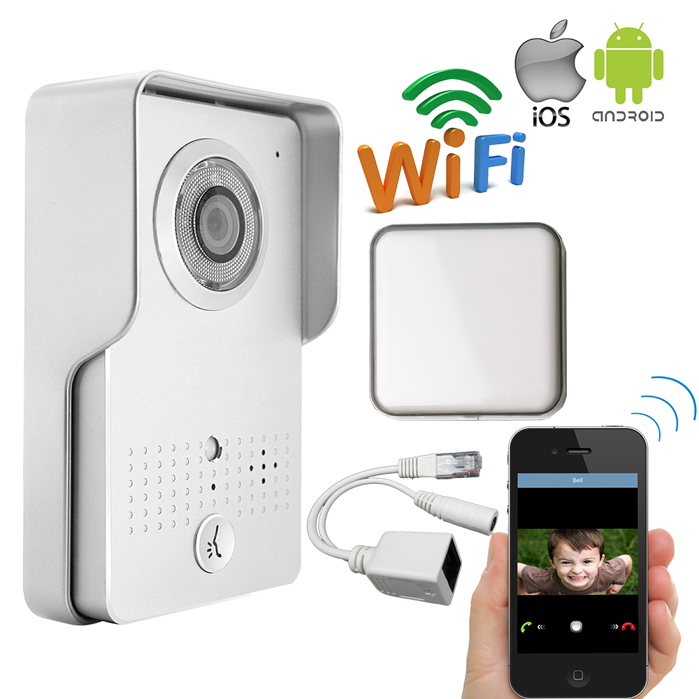 Free Shipping Outdoor Wireless Wifi IP Doorbell Camera for Android IOS Phone Remote View Unlock Video Intercom + Indoor Ringer jcsmarts rfid access wireless wifi ip doorbell camera video intercom for android ios smartphone remote view unlock with sd card