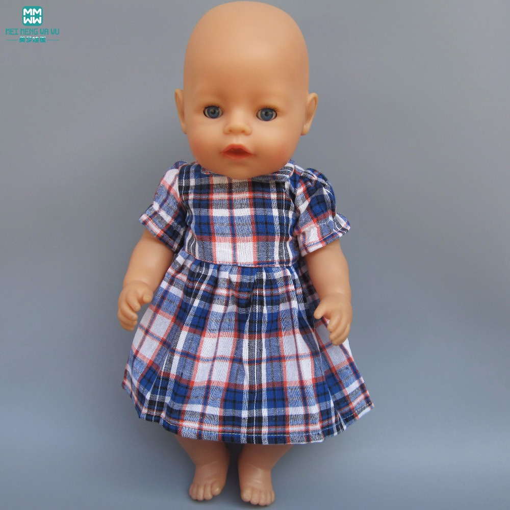 Clothes for doll fits 43cm Baby Born zapf  doll clothes girl dress Blue plaid skirt for Children's gifts