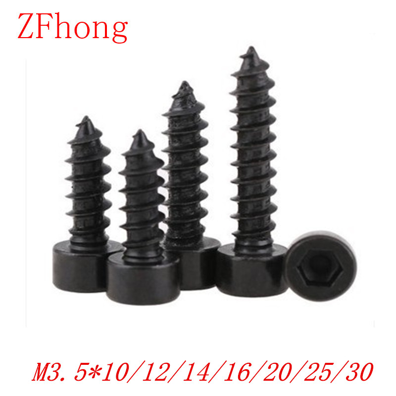 100pcs M3.5*10/12/14/16/18/20/25/30 steel with black hex socket cap head self tapping screw 8 8 hexagon socket screw model self tapping screw speaker speaker m5 10 12 14 16 18 20 25 30 35 40 45 50