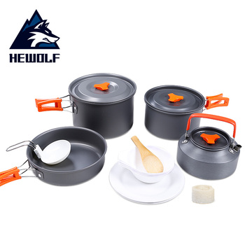 2019 Hewolf 4-5 Persons Outdoor Tableware Camping Hiking Fishing Portable Cookware Picnic Pan Kettle Pot Bowl Travel Tableware