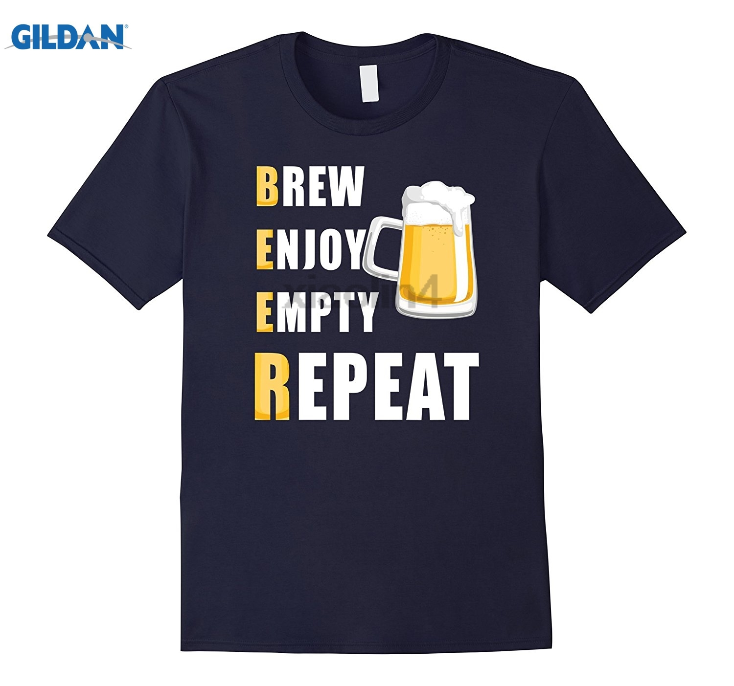 GILDAN Brew Enjoy Empty Repeat Funny Beer T-Shirt Love Drinking GILDAN Summer T-shirt Mens T-shirt glasses Womens T-shirt