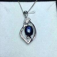أسود أزرق الياقوت الطبيعي قلادة s925 فضة الاحجار الطبيعية قلادة قلادة العصرية الأنيقة زهرة الزنبق النساء المجوهرات