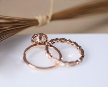 DUPUY 14K Rose Gold Engagement Ring Set 6.5mm Round Cut Forever Classic Ring Art Deco Full Eternity Diamonds Wedding Ring Set 3