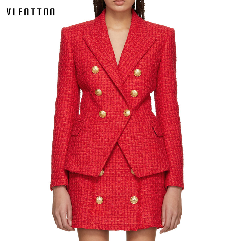 Fashion Red Suit Jacket Women Blazer New Autumn Winter Double Breasted Slim Female Jacket Elegant Long Sleeve Tweed Blazer