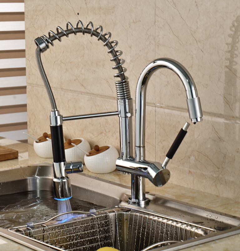 Luxury LED Color Changing Chrome Brass Kitchen Faucet Vanity Sink Mixer Tap Deck Mounted Dual Sprayer deck mounted modern led spring chrome kitchen faucet dual spouts sink mixer tap 3 color changing