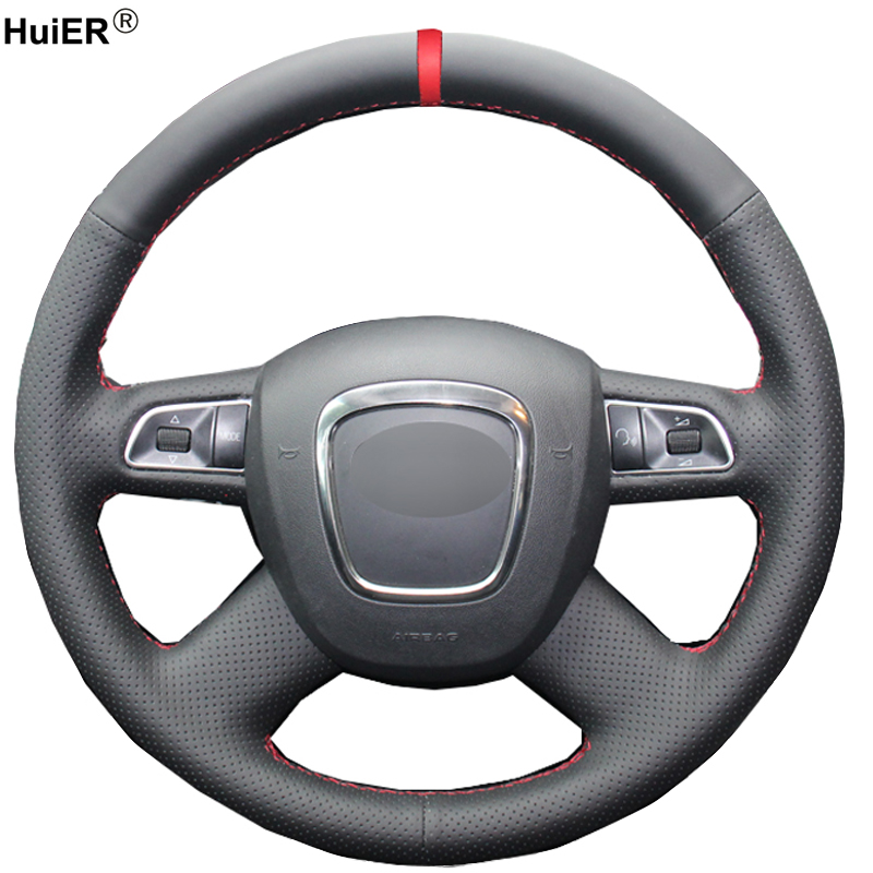 HuiER Hand Sewing Car Steering Wheel Cover Non slip Red Marker For Audi Old A4 B7 B8 A6 C6 2004 2011 Q5 2008 2012 Q7 2005 2011 Steering Covers     - title=