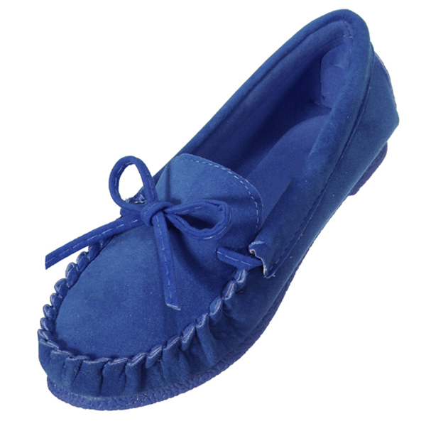 цена на women's Ladies Moccasin Suede Bowknot Slip On Flat Casual Shoes