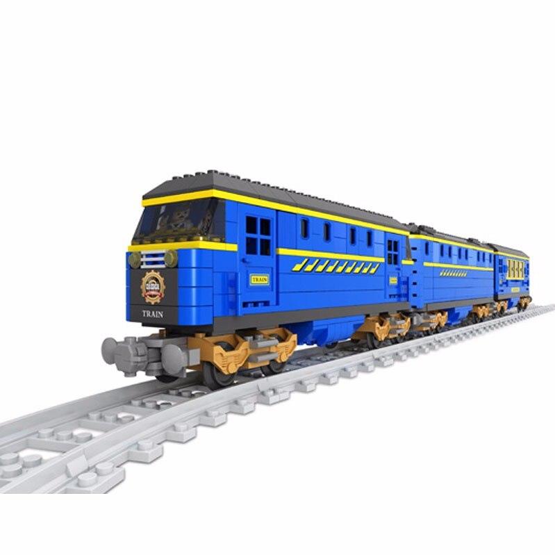 25002 AUSINI 832 pièces/ensemble ville technique bleu Train modèle blocs de construction éclairer figurine jouets pour enfants Compatible Legoe