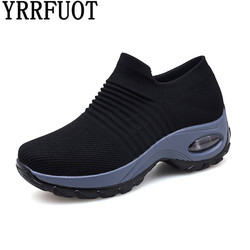 YRRFUOT Women Casual Shoes Flyknit Spring Outdoor Fashion Sneakers For Women Shoes 41 42  Trend Vulcanize Shoes Flats Brand Soft
