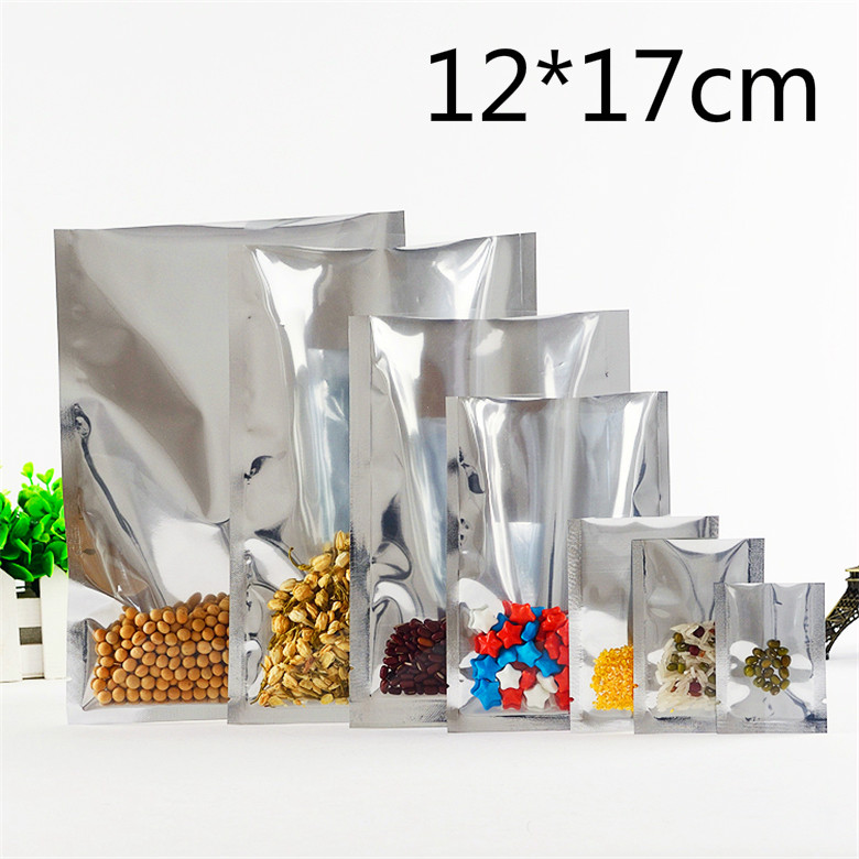 12*17cm Silver Open Top Translucent Aluminum Foil Poly Pack Package Bags Front Clear Heat Seal Coffee Food Storage Vacuum Pouch