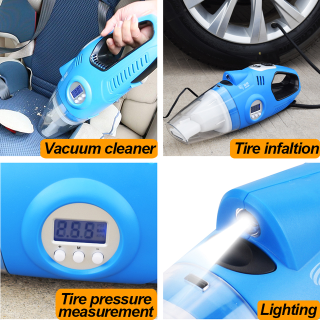 12V Car Auto Electric Air Compressor + Vacuum Cleaner + Light / 4 in 1 3