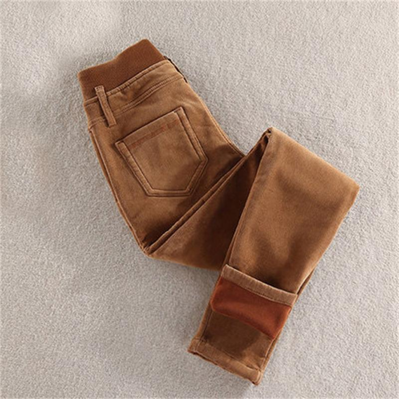 high quality high waist plus velvet thick corduroy winter pants casual pants elastic feet pencil pants large size women's pants