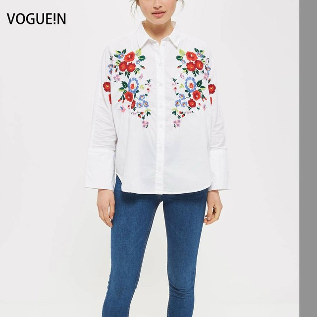 N New Womens Ladies Long Sleeve Floral Embroidered White Button Down Shirt  Blouse Tops