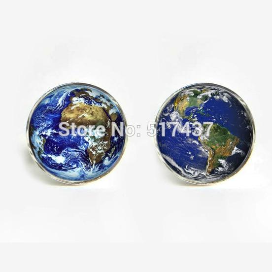 J-22 wholesale Men Cufflinks High Quality World Earth cufflinks World Map Cuff Link Ladies Silver Cufflinks