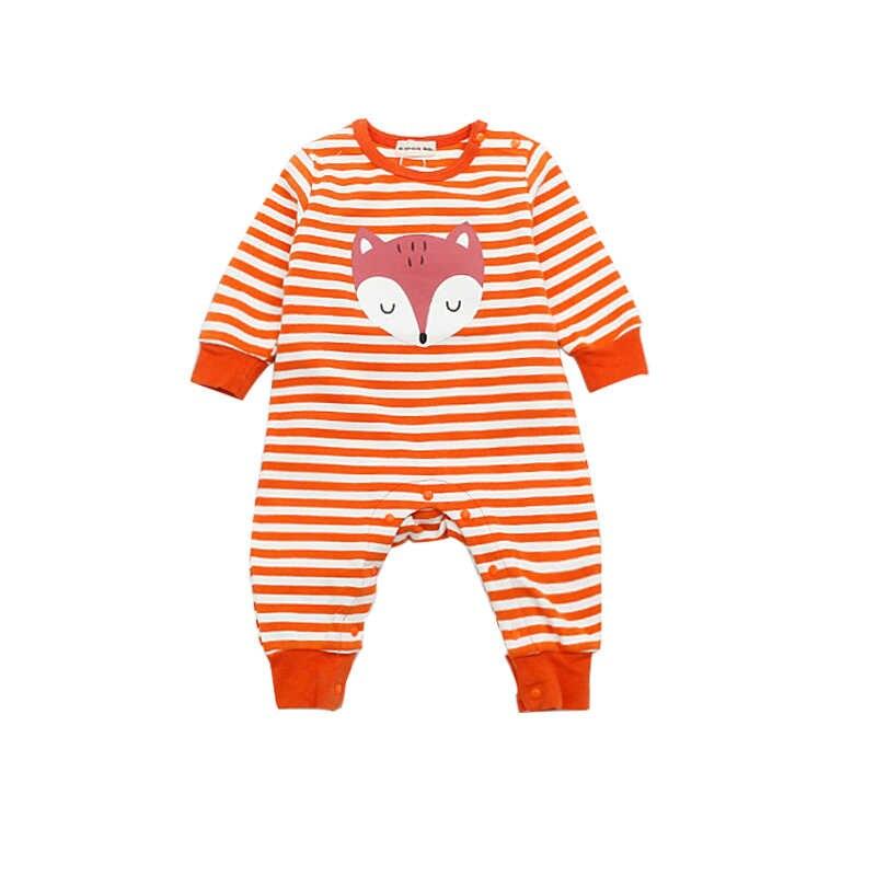 Bébé rayé barboteuses Animal renard nouveau-né bébé filles garçons vêtements coton à manches longues infantile combinaison automne salopette 0-2 ans