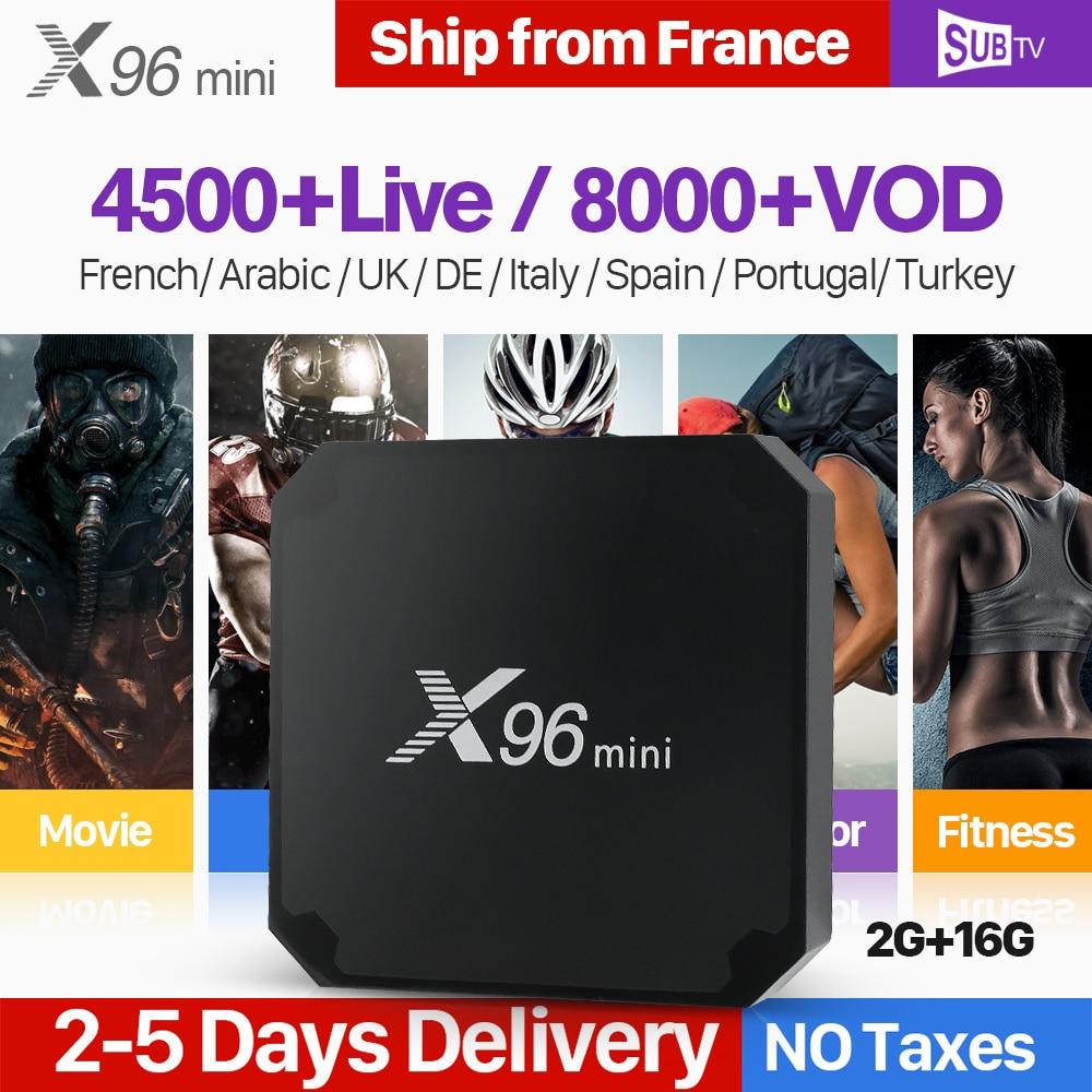 Assinatura IPTV SUBTV 1 Ano X96 Mini 2 + 16G IPTV Android 7.1 Caixa de TV Francês Árabe Portugal Itália código France IPTV Arábica