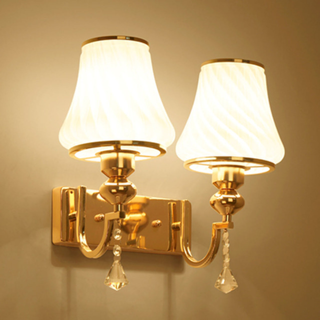 HGhomeart Simple Modern Glass Sconces Led Wall Lamp Reading Light Bed  Bedroom Wall Lighting Contemporary Crystal Bedside Lamp