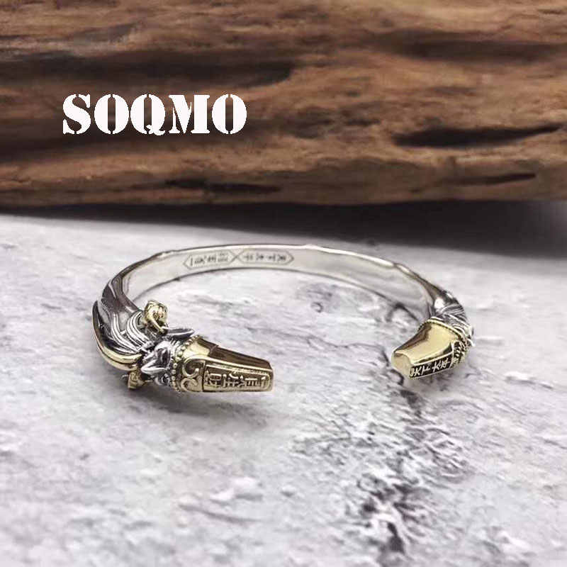 SOQMO Skills and old silversmith s925 silver men's Bangles Thai silver cross restoring ancient ways is the virgin bracelet