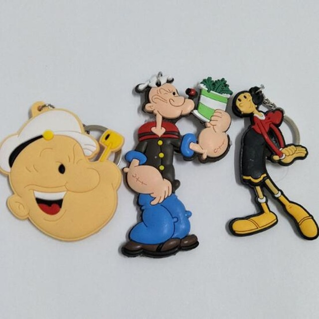 Popeye the Sailor Olive Oyl PVC cosplay Keychain spinach double Keyring wholesale Costume Props Collectible Chaveiro & Popeye the Sailor Olive Oyl PVC cosplay Keychain spinach double ...