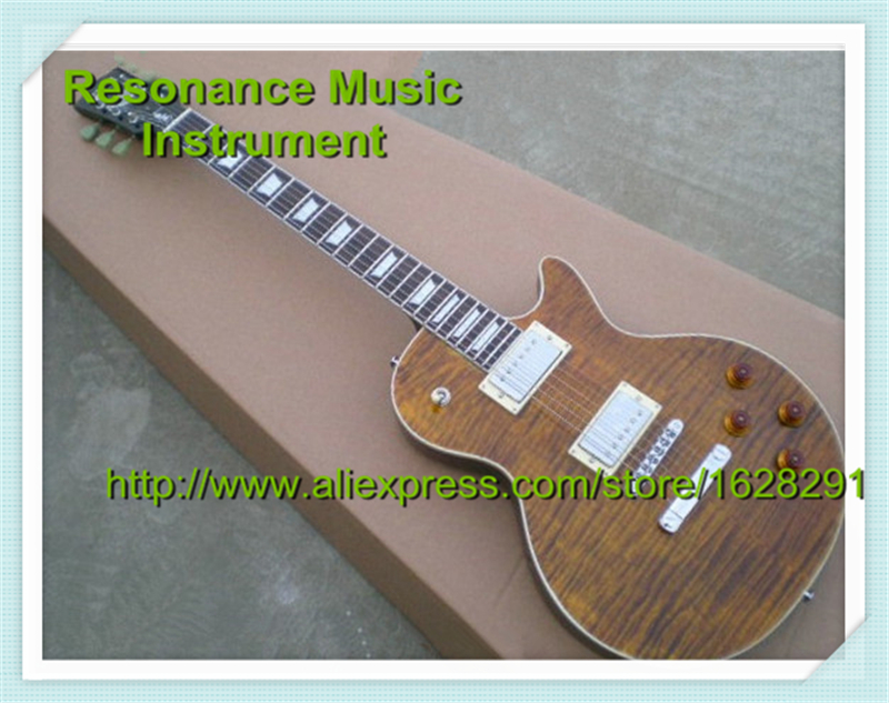 Wholesale & Retail Brown Tiger Flame Top Binding Guitar Body LP Standard Electric Chinese Guitars Left Handed Custom Available hot selling matte tiger flame finish lp standard electric guitars with solid mahogany guitar body in stock
