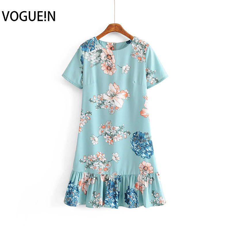 VOGUEIN New Womens Summer Floral Print Short Sleeve O-Neck Light Blue Slim Mini Dress Wholesale