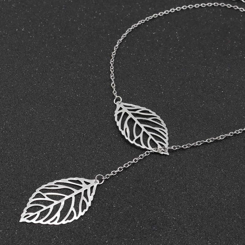Btuamb Venta caliente doble hojas huecas collares para mujeres joyería oro plata Color clavícula cadena collares colgantes Collier