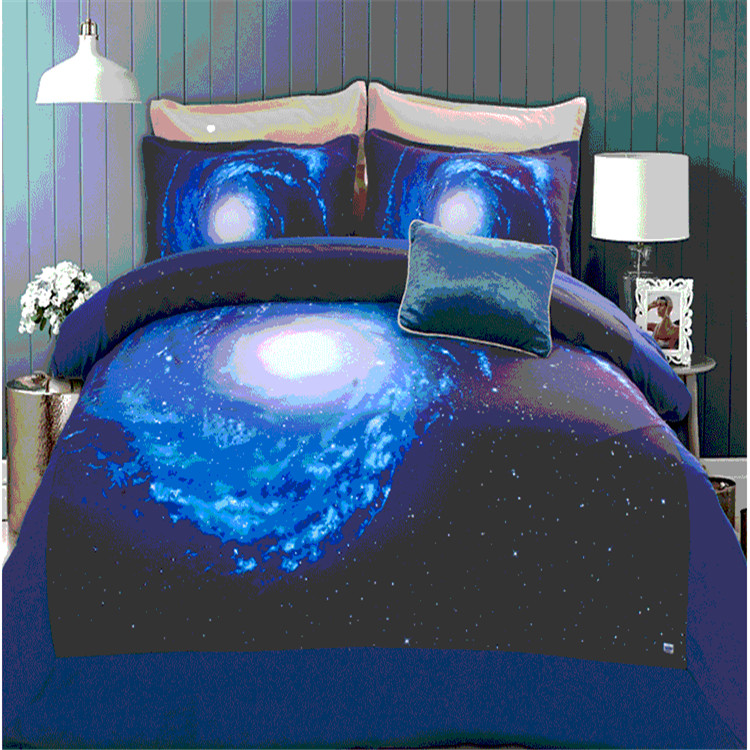 Sanding space bedding set twin/full/queen size bed set duvet cover set with bed sheet bedclothes Moon Star Galaxy NASA