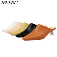 Shoes Woman Closed Toe Mules Crystal Strange Heels Slippers Summer Sandals Shallow Slip on Slide Black Camel White Khaki Apricot