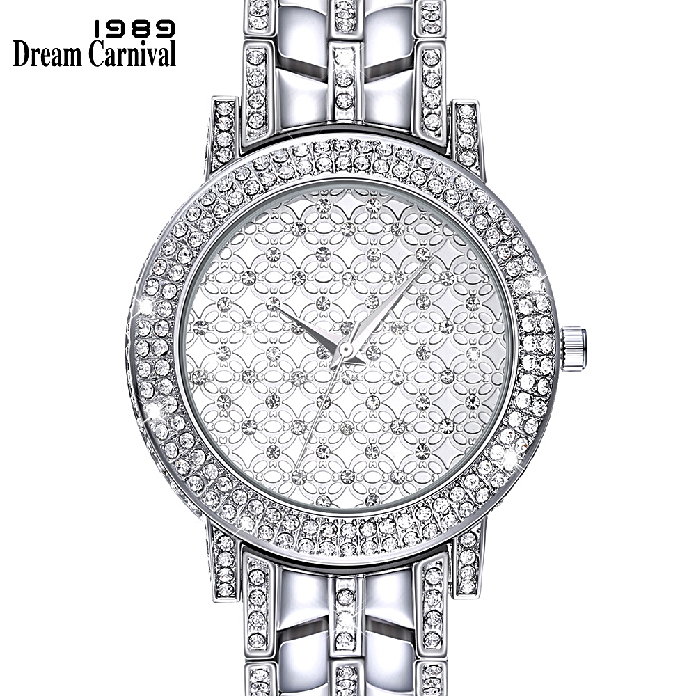 DreamCarnival 1989 New Women Wrist Watch Bling Crystal Alloy Metal Bracelet Style Timepiece Elegant Party Quartz Clock A8340A