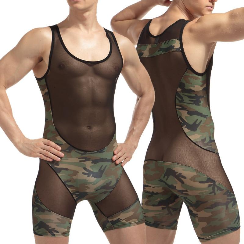 Bodysuit Siamese Underwear Panties Shapers Buttons Wrestling suit Breathable Mesh Mens Underwear Camouflage transparent Bodywear