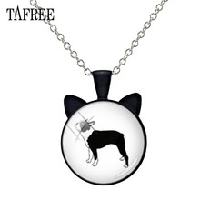 TAFREE Hound Boston Terrier Animal Ear Necklace Lovely Pet Dog Pendant Glass Cabochon Charms Alloy Metal Choker Collar B845