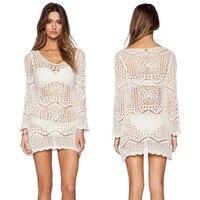 2019 New Crochet Knit Beach Dress Pareos Women Summer Swimsuit Cover Ups Sexy See through Bikini Tops Beachwear Loose Plus Size